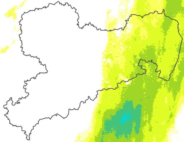 Stunden-Radar-Niederschlag in mm (10-minütlich aktualisiert; Quelle: DWD)