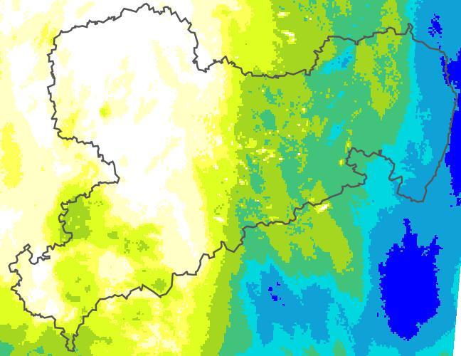 Gleitende Aufsummierung 24-h-Radar-Niederschlag in mm (stündlich aktualisiert; Quelle: DWD)